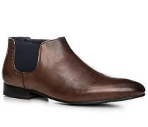 Schuhe Stiefelette Leder cognac