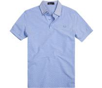 Polo-Shirt Polo Baumwoll-Piqué bleu-weiß gepunktet