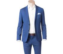 Herren Sakko Fitted Baumwoll-Stretch kobaltblau meliert