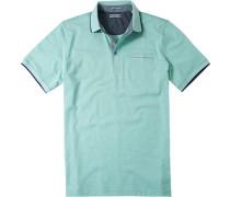 Herren Polo-Shirt Polo Baumwoll-Jersey grün-weiß gestreift