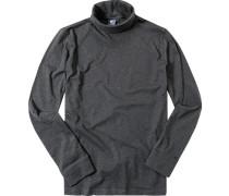 Herren Rollkragen-Shirt Baumwoll-Mix anthrazit meliert grau