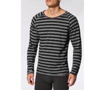 Schlafanzug Longsleeve Baumwolle schwarz- gestreift