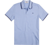 Polo-Shirt Regular Fit Baumwoll-Piqué hellblau meliert