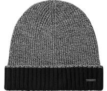 Herren   Mütze Schurwolle schwarz-weiß