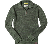Pullover Troyer Baumwolle schilfgrün meliert