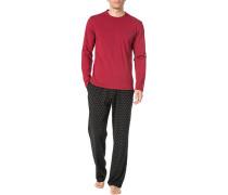 Schlafanzug Pyjama, Baumwolle, gemustert