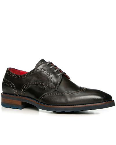 Schuhe Budapester, Leder gebrusht, carbone
