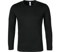 Herren Unterwäsche Long-Sleeve Baumwoll-Mix schwarz