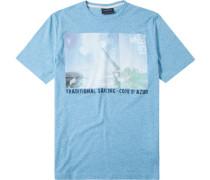 Herren T-Shirt Baumwoll-Mix türkis gemustert blau
