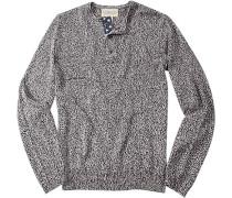 Herren Pullover Leinen-Baumwoll-Mix schwarz-weiß meliert grau