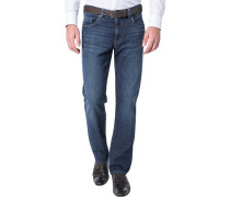 Blue-Jeans Regular Fit Baumwoll-Stretch dunkelblau