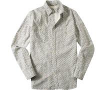 Hemd, Baumwolle, ecru-rotorange gemustert