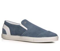 Slip Ons Veloursleder jeansblau ,weiß