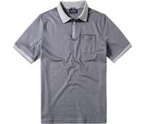 Herren Polo-Shirt Polo Baumwoll-Mix navy meliert blau