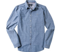 Herren Hemd Slim Fit Oxford jeansblau gemustert