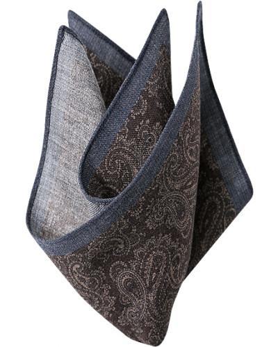 Accessoires Einstecktuch, Wolle, braun-rauchblau paisley