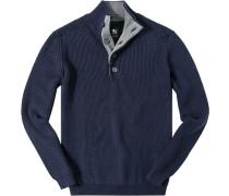 Pullover Stricktroyer Baumwolle marineblau