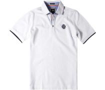 Herren Polo-Shirt Polo Baumwoll-Piqué weiß