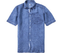 Herren Leinenhemd Modern Fit jeansblau