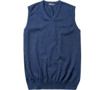 Pullover Pullunder Merinowolle dunkelblau meliert