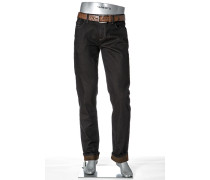 Herren Jeans Regular Slim Fit Stretch-Denim dunkelbraun