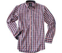 Herren Hemd Button-Down Baumwolle rot-blau kariert multicolor