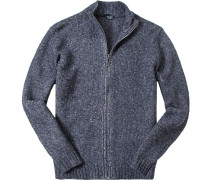Cardigan Wolle-Alpaka dunkelblau meliert