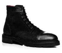 Herren Schuhe Schnürstiefeletten Velours-Glattleder nero schwarz,rot