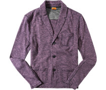 Strick-Blazer Baumwolle violett meliert