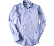 Ober-Hemd Baumwolle hellblau gemustert