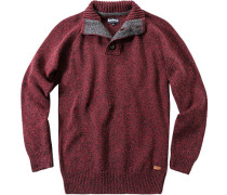 Pullover Troyer Wolle grau- meliert