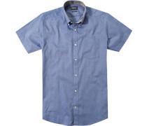 Hemd, Tailored Fit, Baumwolle, dunkelblau meliert