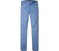 Herren Chino-Hose Slim Fit Baumwoll-Stretch azurblau