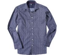 Herren Hemd Regular Fit Popeline marineblau-weiß gemustert