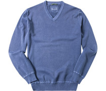 Herren Pullover Baumwolle jeansblau