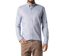 Hemd, Regular Fit, Twill, bleu meliert