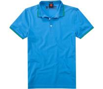 Polo-Shirt Polo Slim Fit Baumwoll-Piqué himmelblau