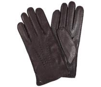 Handschuhe Peccaryleder Woll-Strickfutter dunkelbraun