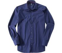 Herren Oberhemd Regular Fit Popeline marine blau