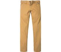 Herren Jeans Straight Fit Baumwoll-Stretch maisgelb