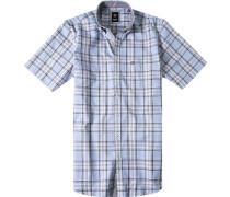 Herren Hemd Regular Fit Pinpoint blau-braun kariert