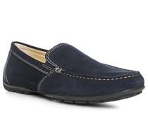 Schuhe Mokassin Veloursleder marineblau