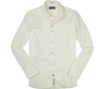 Hemd Modern Fit Leinen-Baumwolle wollweiß