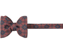 Herren Krawatte Schleife Seide marineblau-braun rot