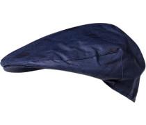 Herren   Sportmütze Baumwolle gewachst blau kariert