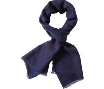 Schal, Wolle, indigo gemustert