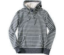 Pullover Kapuzenpulli, Baumwolle, navy-off white gestreift