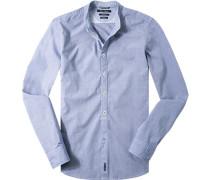 Hemd Shaped Fit Baumwolle dunkelblau meliert