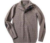 Pullover Troyer Wolle taupe meliert