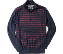 Pullover Troyer Baumwolle dunkelblau-rot gestreift